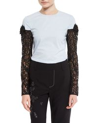 Creatures of the Wind - Lace-sleeve Crewneck Blouse - Lyst