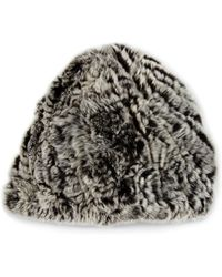Belle Fare - Knit Rabbit Fur Beanie Hat - Lyst