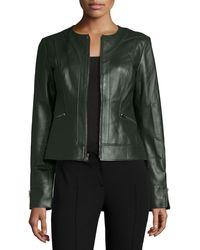 Neiman Marcus - Collarless Zip-Front Lambskin Leather Jacket - Lyst