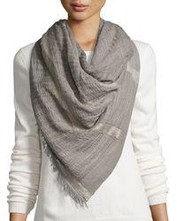 Peserico - Metallic-striped Wool-blend Scarf - Lyst