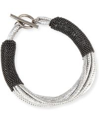 Brunello Cucinelli - Metallic Leather Bracelet W/monili Strands - Lyst