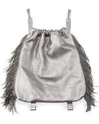 Brunello Cucinelli - Drawstring Fringe Leather Backpack - Lyst