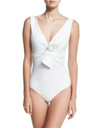 La Petite Robe Di Chiara Boni - Xeni V-neck Bow-detail One-piece Swimsuit - Lyst