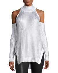 Thierry Mugler - Metallic Mock-neck Cold-shoulder Sweater - Lyst
