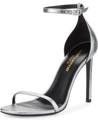 Saint Laurent - Jane Metallic Ankle-wrap 105mm Sandal - Lyst