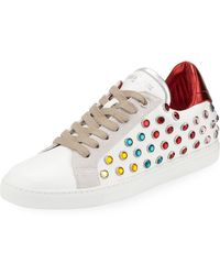 e23b3ea582bf Zadig   Voltaire - Leather And Strass Hidden-wedge Low-top Sneakers - Lyst
