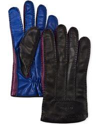 Etro - Men's Colorblock Leather Gloves - Lyst
