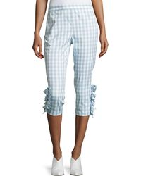Boutique Moschino - Ruffled-trim Gingham Capri Pants - Lyst