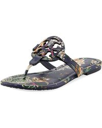 0e5ad5fb440d Tory Burch - Miller Medallion Floral-print Leather Flat Thong Sandals - Lyst