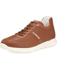 A.Testoni - Leather Trainer Sneaker - Lyst