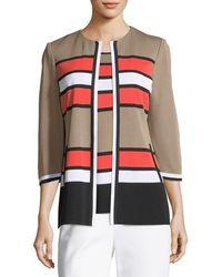 Misook - Unexpected Stripes 3/4-sleeve Jacket - Lyst