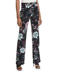 Badgley Mischka - Satine Straight Floral Print Pants - Lyst