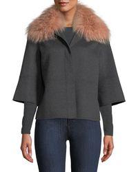 Neiman Marcus - Luxury Double Faced Woven Cashmere Kimono Jacket W/ Fox Fur Collar - Lyst