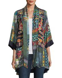 Johnny Was - Koben Canvas Embroidered Twill Kimono - Lyst