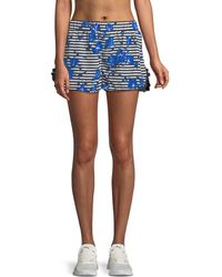 Kate Spade - Hibiscus-print Striped Frill Active Shorts - Lyst