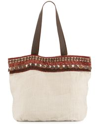 Ále By Alessandra - Cleopatra Beaded & Embellished Linen Tote Bag - Lyst
