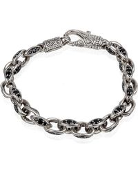 Konstantino - Men's Plato Sterling Silver Link Bracelet With Black Spinel - Lyst