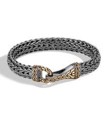 John Hardy - Men's Classic Chain Silver Hook Bracelet With Black Rhodium & 18k Gold - Lyst