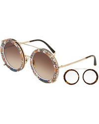 Dolce & Gabbana - Round Clip-on Front Metal Sunglasses - Lyst
