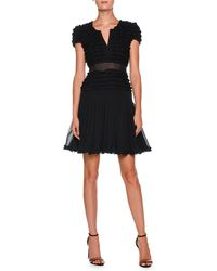 Giorgio Armani - Cap-sleeve Ruffled Georgette Short Cocktail Dress - Lyst