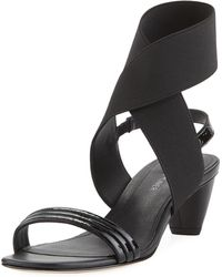 Donald J Pliner - Hira Crinkled Patent Leather Low-heel Sandal - Lyst