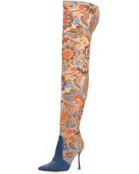 Manolo Blahnik - Temaquita Floral Over-the-knee Boot - Lyst