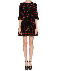 Alexander McQueen - Jewel-neck Petal-print 3/4-sleeve A-line Dress - Lyst