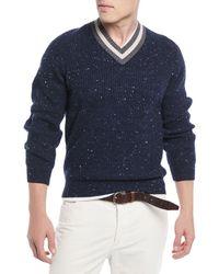 Brunello Cucinelli - Men's Varsity Stripe Donegal Sweater - Lyst