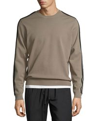 Vince - Track Striped Crewneck Sweater - Lyst