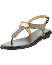 MICHAEL Michael Kors - Mk Plate Metallic Thong Sandal - Lyst