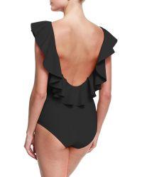 La Petite Robe Di Chiara Boni - Nati Ruffle Across Neckline Open-back One-piece Swimsuit - Lyst