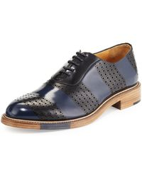 The Office Of Angela Scott - Perforated Brush-off Leather Oxford - Lyst