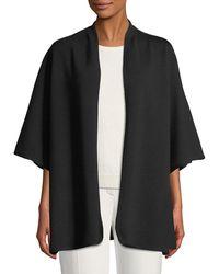 ESCADA - Open-front 3/4-sleeve Wool Cape W/ Logo Intarsia - Lyst
