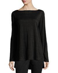 Eileen Fisher - Bateau-neck Organic Linen Jersey Top - Lyst