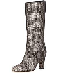 SJP by Sarah Jessica Parker - Reign Glitter Mesh Block-heel Boots - Lyst
