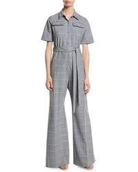 86e06d777b79 Lela Rose - Short-sleeve Belted Windowpane Check Wide-leg Wool-blend  Jumpsuit