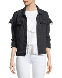 PAIGE - Heidi Button-front Denim Jacket With Ruffled Trim - Lyst