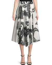 MILLY - Fiona Lace-print Cotton A-line Skirt - Lyst