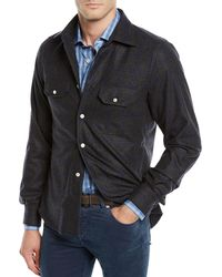 Kiton - Men's Cashmere Windowpane Overshirt - Lyst