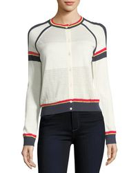 Neiman Marcus - Cashmere Athletic Striped Cardigan - Lyst