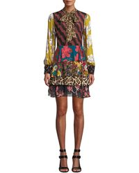 Alice + Olivia - Dasha Tiered Ruffle Tie-neck Dress - Lyst