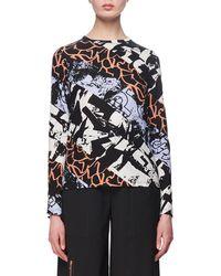 Proenza Schouler - Spiral Graffiti-print Long-sleeve Cotton T-shirt - Lyst
