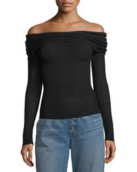 A.L.C. - Allegra Off-the-shoulder Long-sleeve Mesh-knit Sweater - Lyst