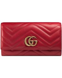 8ff4971f711 Gucci - GG Marmont Medium Quilted Flap Wallet Red - Lyst
