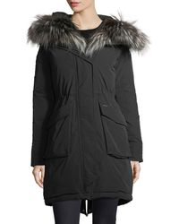 Woolrich - Military Hooded Midi Parka Coat W/ Fur Trim - Lyst