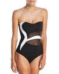 Jets by Jessika Allen - Classique Sweetheart Bandeau Colorblocked One-piece Swimsuit - Lyst