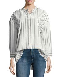 Joie - Poni Button-front Striped Poplin Shirt - Lyst