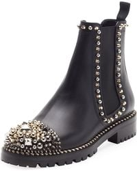 Christian Louboutin - Chasse Embellished Leather Chelsea Boots - Lyst