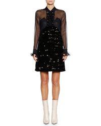 Bottega Veneta - Long-sleeve Ruffle-placket Sequin Beaded A-line Cocktail Dress - Lyst