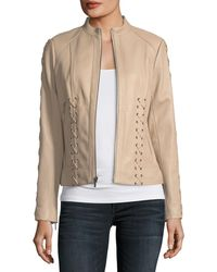Neiman Marcus - Leather Braided Moto - Lyst
